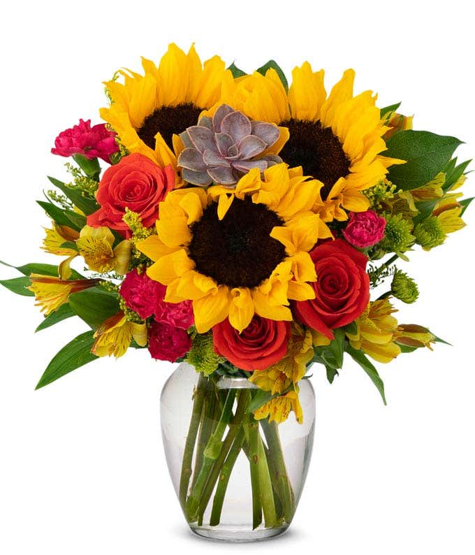 Autumn Succulent Bouquet with Sunflowers