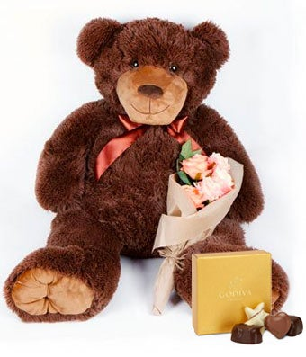 Large teddy bear and chocolates delivered