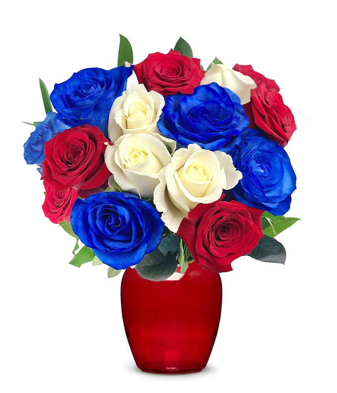 Red, White and Blue Roses