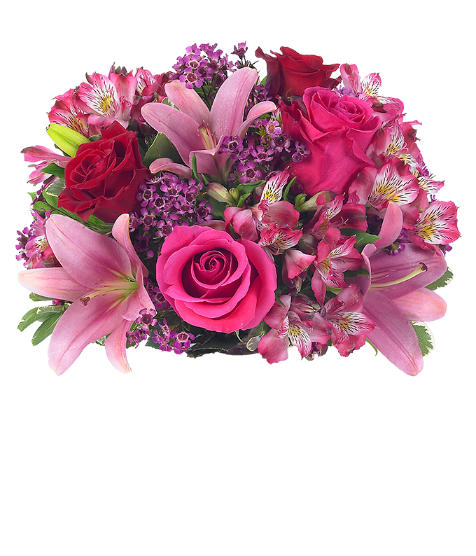 Pink asiatic lilies, pink roses and red roses
