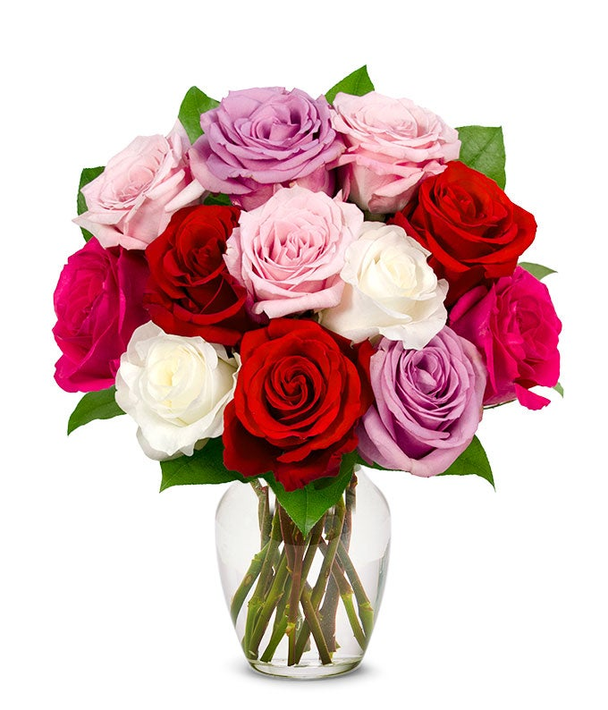 One dozen assorted spring roses at from you flowers one dozen pink red white and purple roses for valentine mightylinksfo Gallery