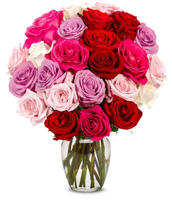 two dozen pastel roses