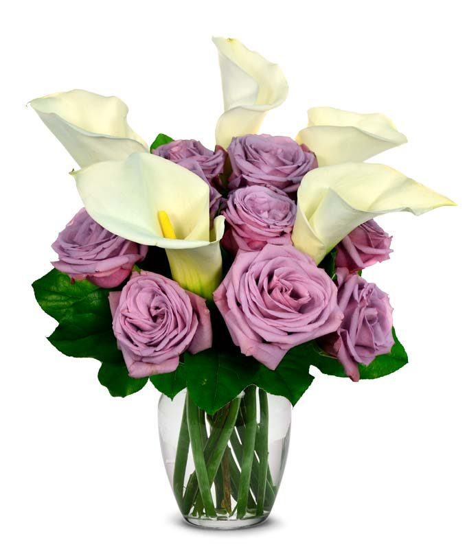 Calla Lily and Purple Rose Bouquet
