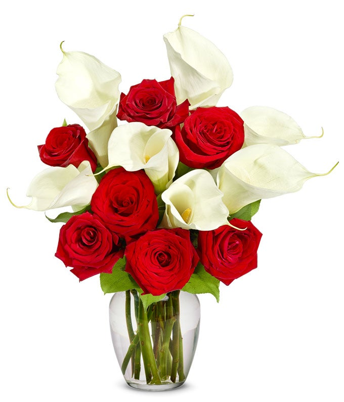 Red Rose & Calla Lily Bouquet - Premium