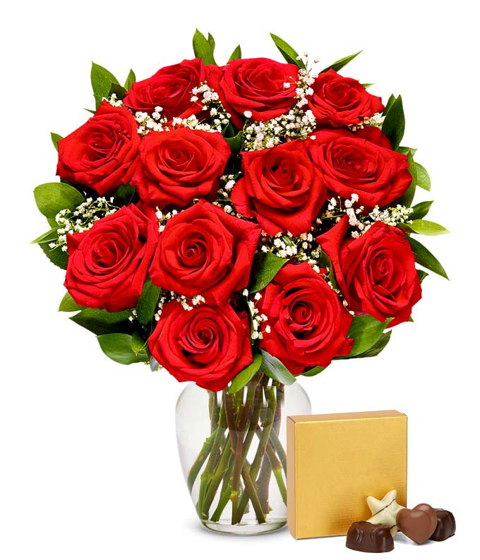One dozen valentine's red roses with chocolates