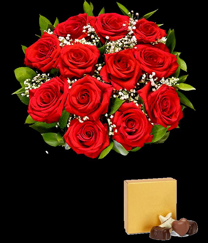 One dozen valentine's red roses with chocolates