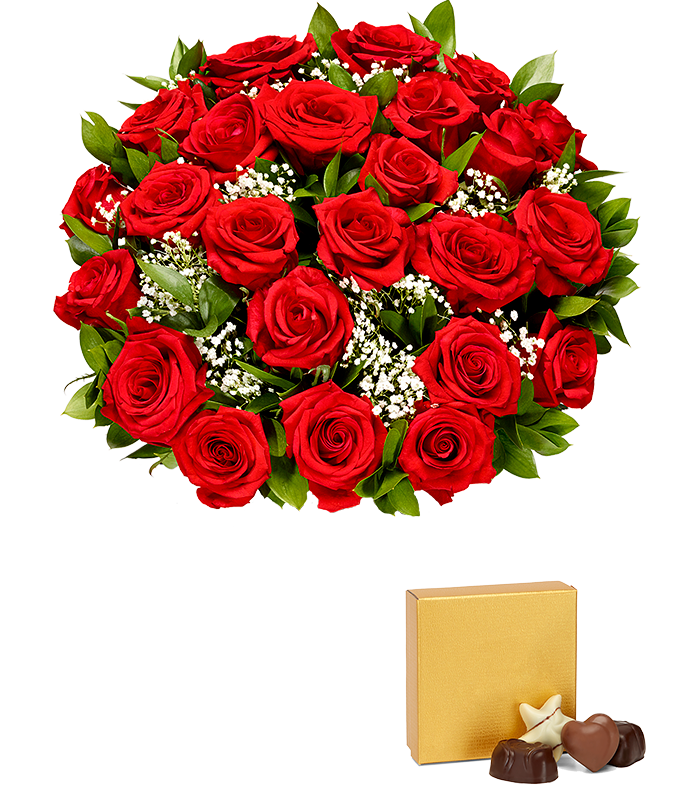 Two dozen red Valentine's roses delivered with chocolates