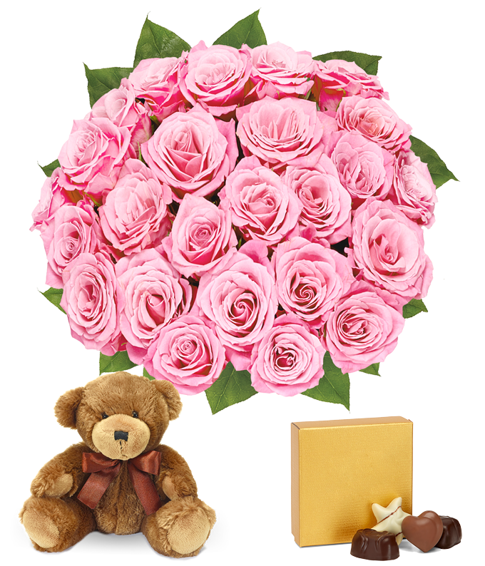 Two dozen pink roses delivered for Valentine with bear and chocolates