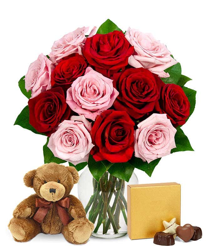 Pink and red roses with Godiva chocolates and a bear