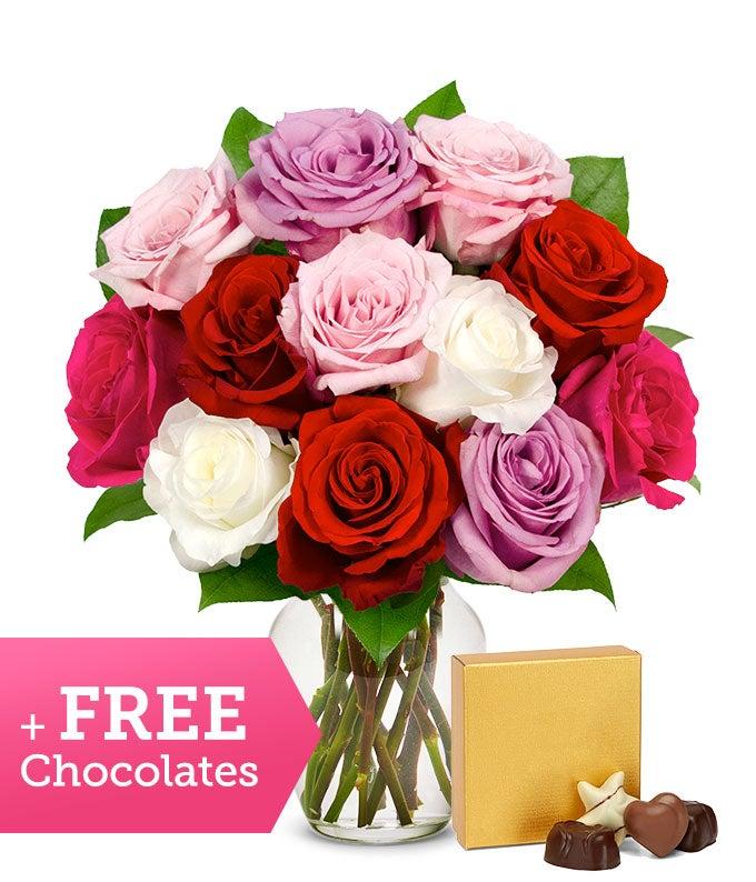 One Dozen Sweetheart Roses with Free Godiva Chocolate