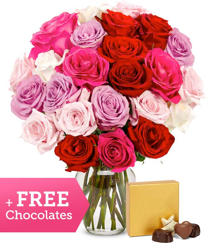 Two Dozen Sweetheart Roses with Free Godiva Chocolate