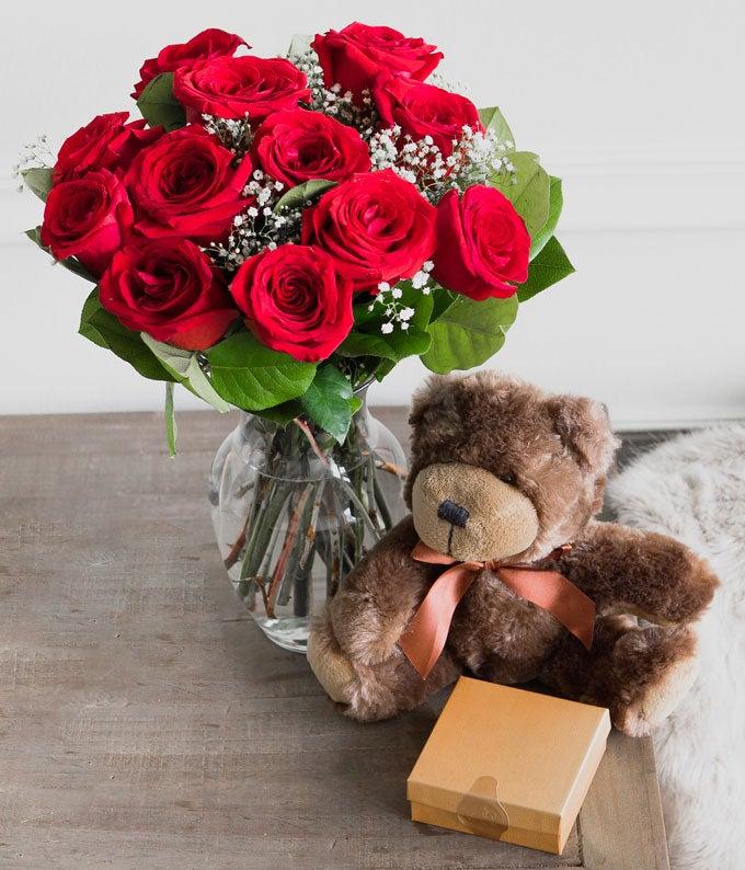 12 Long Stem Red Roses with Godiva & Bear