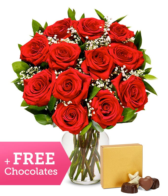 One Dozen Long Stemmed Red Roses with Free Godiva Chocolate