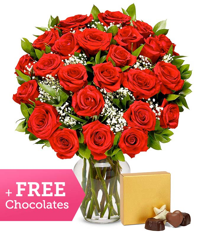 Two Dozen Long Stemmed Red Roses with Free Godiva Chocolate