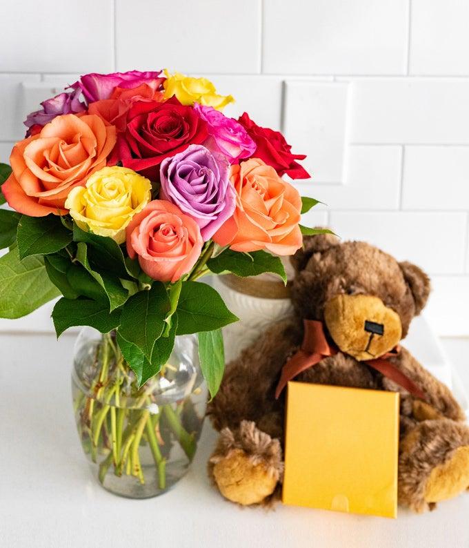12 Rainbow Roses with Godiva & Bear