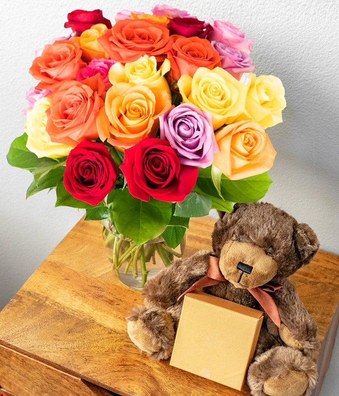 24 Rainbow Roses with Godiva & Bear