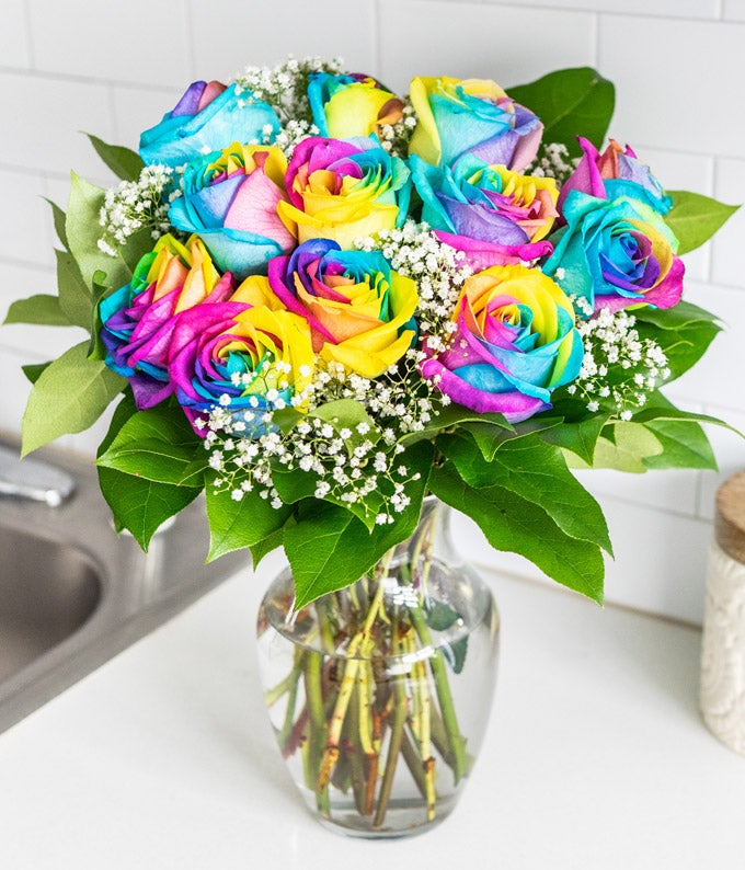 12 Wild Rainbow Roses