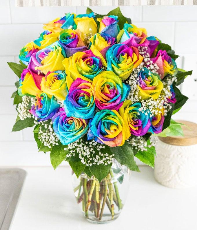 24 Wild Rainbow Roses