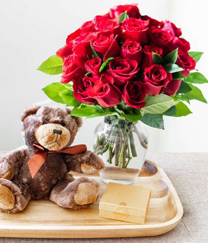 24 Long Stem Red Roses with Godiva & Bear