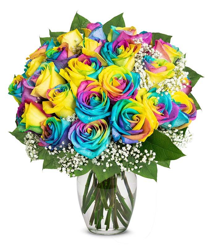 Two Dozen Colorful Tie-Dye Roses