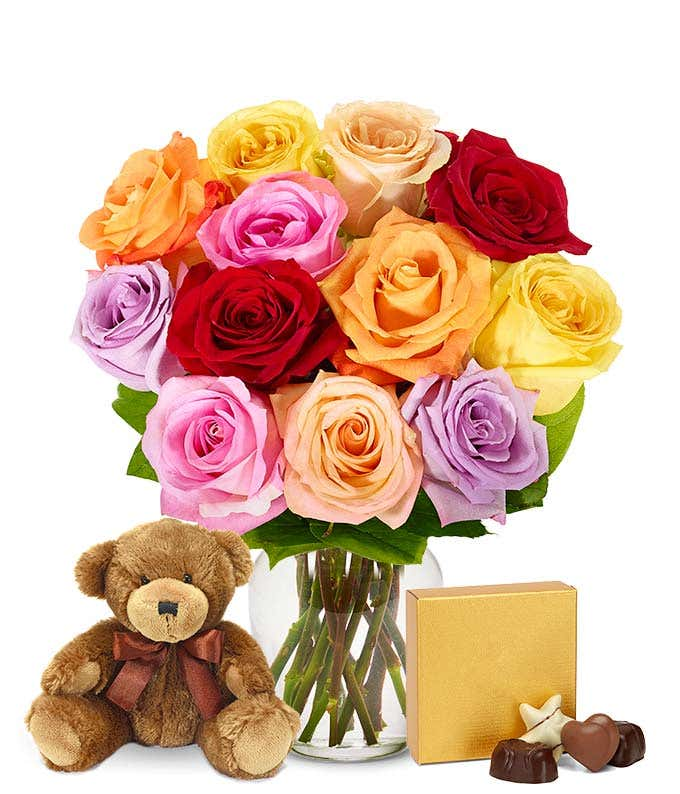 Mixed roses, teddy bear and Godiva chocolates