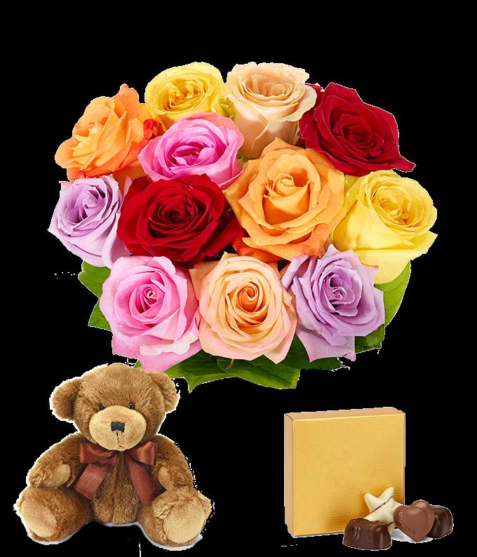 Mixed roses, teddy bear and Godiva chocolates
