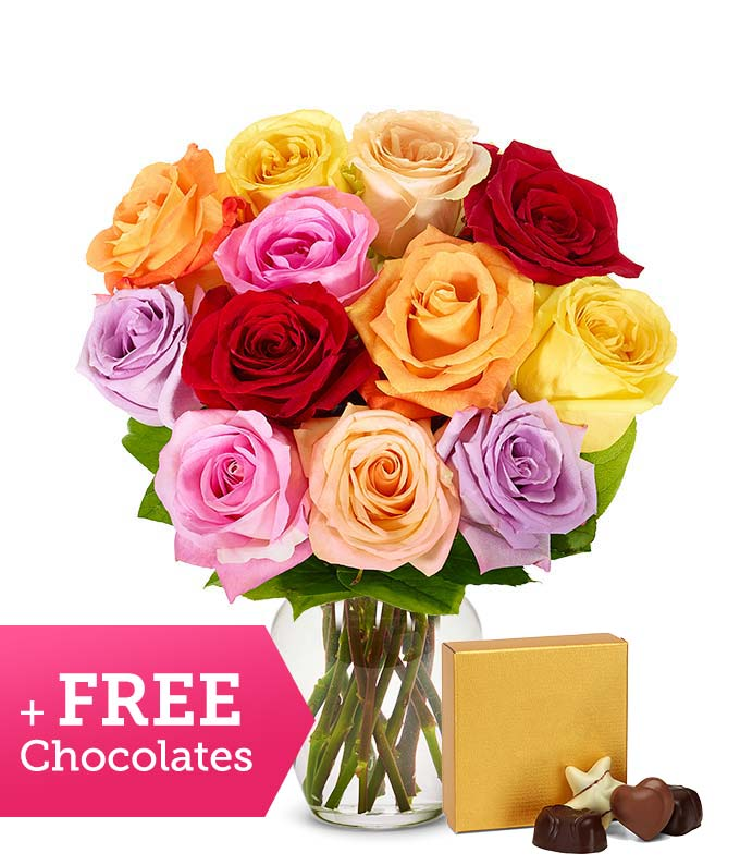 One Dozen Rainbow Roses with Free Godiva