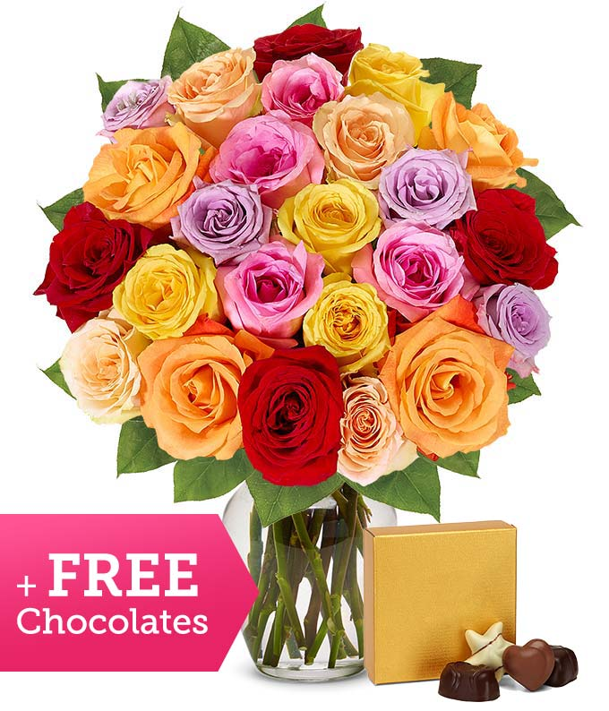 Two Dozen Rainbow Roses with Free Godiva Chocolate