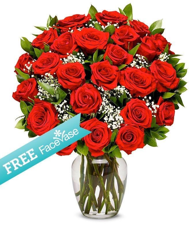 Free Red Vase with Two Dozen Red Roses
