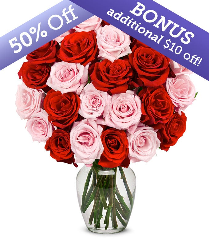 Two Dozen Premium Red & Pink Roses