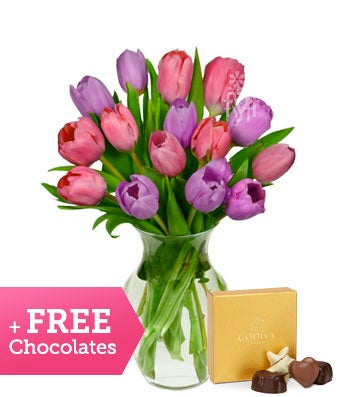 Free Chocolates with Pink and Purple Tulips - 15 Stems