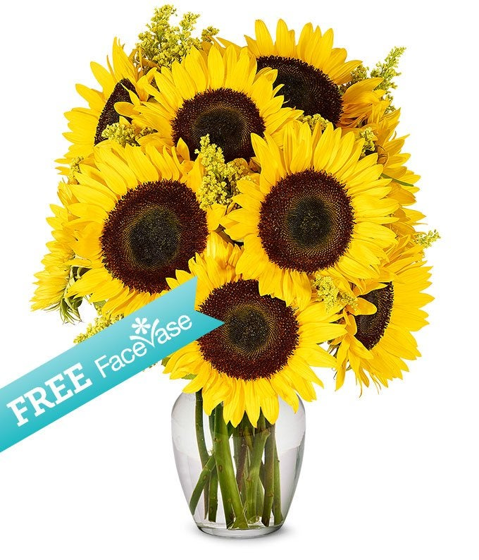 Sunflowers with Free Face Vase