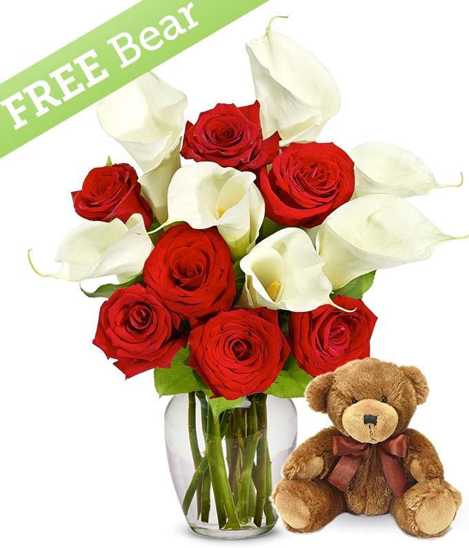 Red Roses & Calla Lilies with a Free Bear