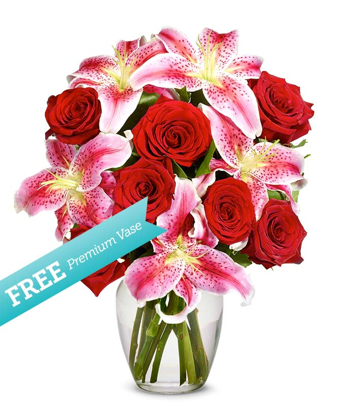 Red Roses and Stargazers with a Free Premium Vase