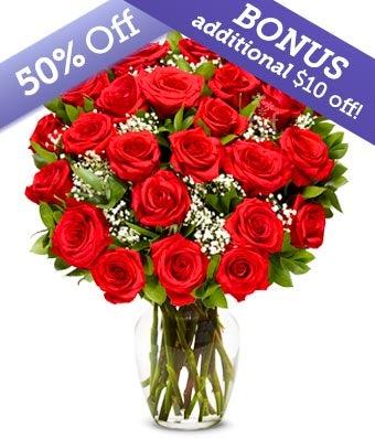 Premium Two Dozen Long Stem Red Roses