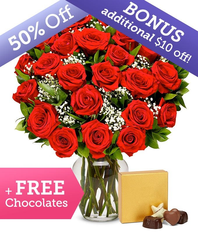 Premium Two Dozen Red Roses with Free Chocolates