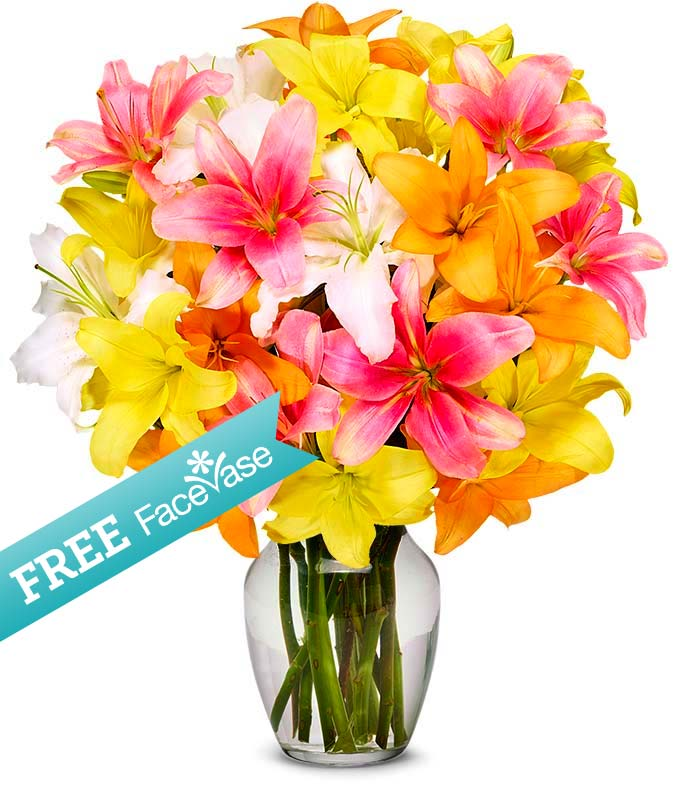 Free Face Vase with Beautiful Lillies