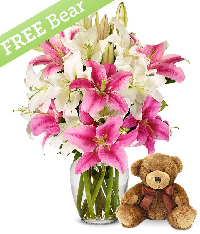 Pink and White Lilies with Free Bear