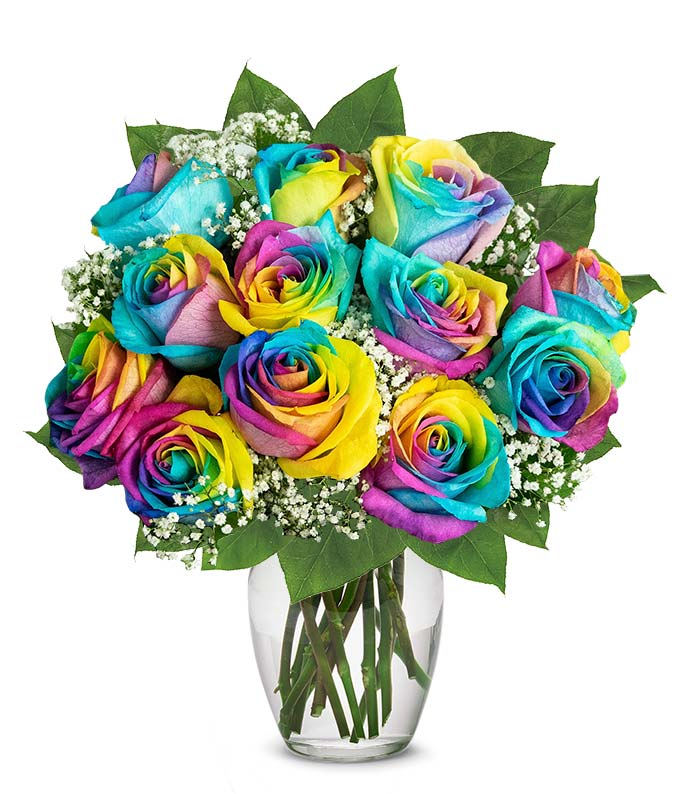 One Dozen Rainbow Roses At From You Flowers