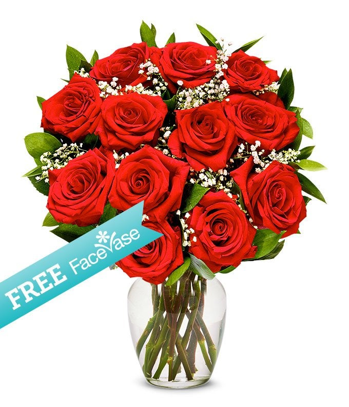 One Dozen Premium Red Roses with Free Face Vase
