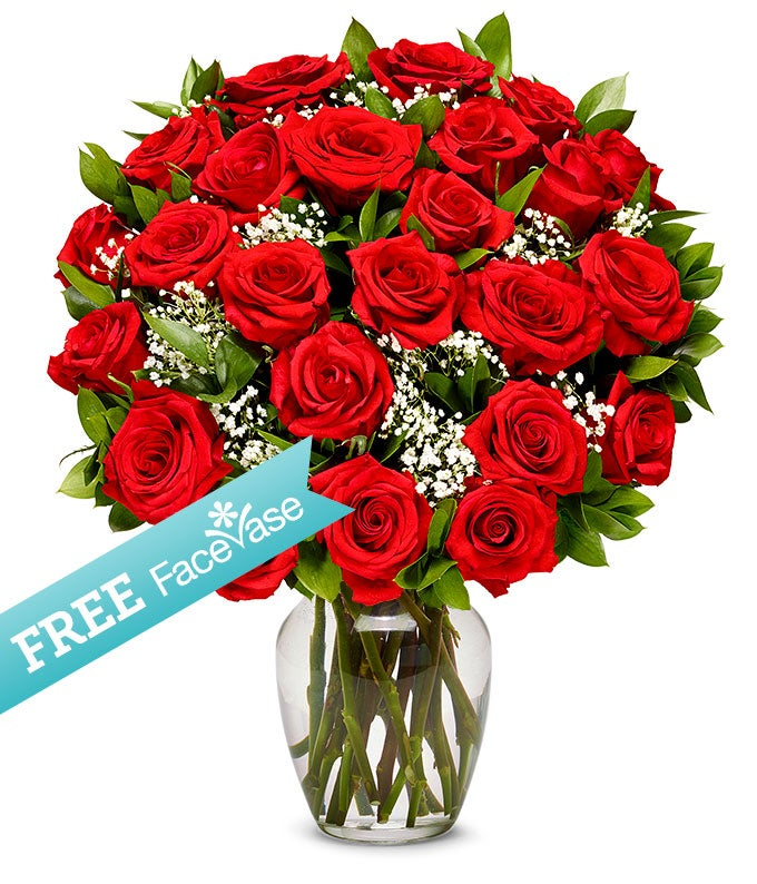 Two Dozen Premium Red Roses with Free Face Vase