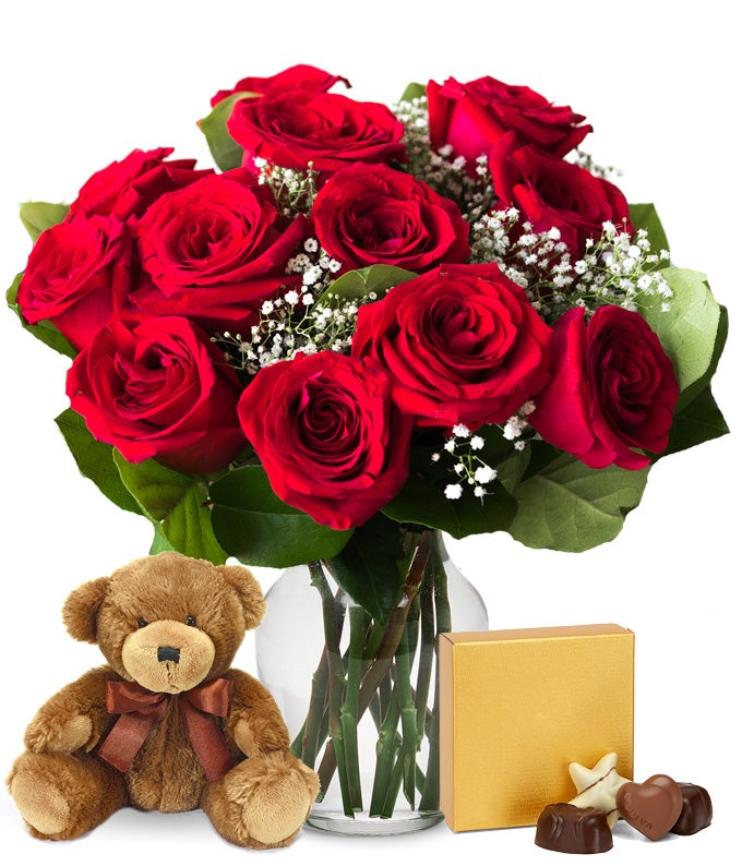 12 Red Roses Bundled with Godiva Chocolate & Teddy Bear