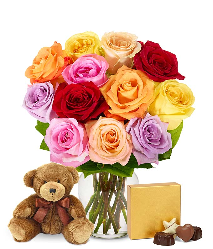One Dozen Mixed Rainbow Roses + Godiva + Bear