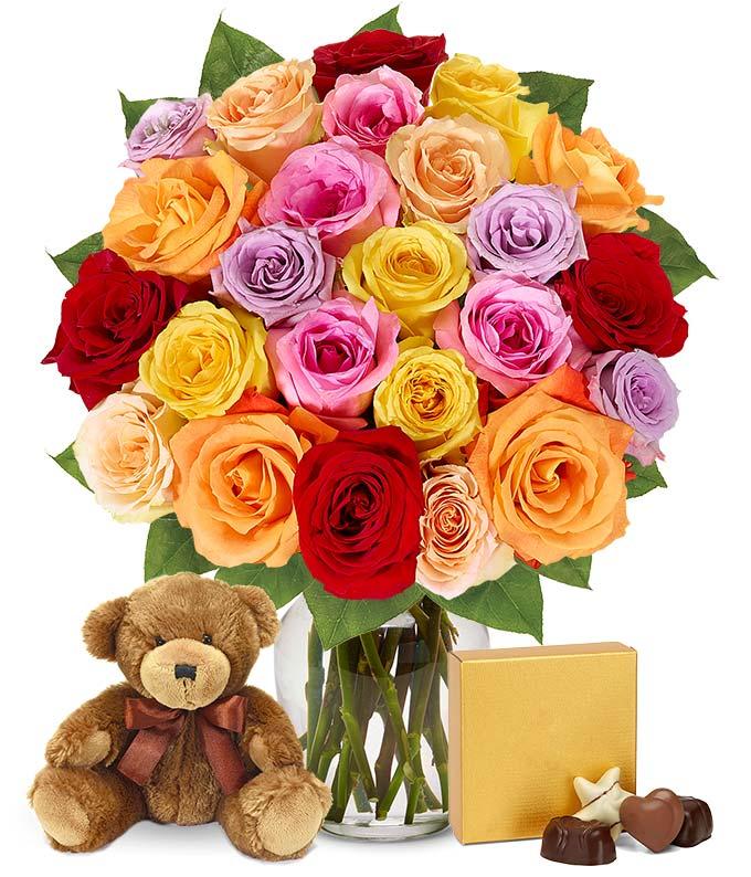 Two Dozen Mixed Rainbow Roses + Godiva + Bear