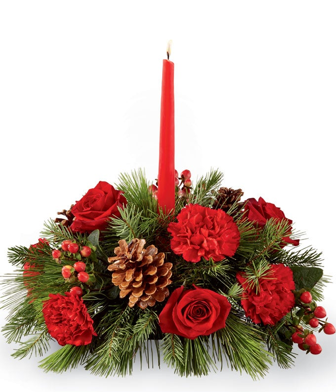 Lovely Rose and Evergreen Centerpiece