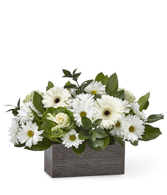 White daisy sympathy basket
