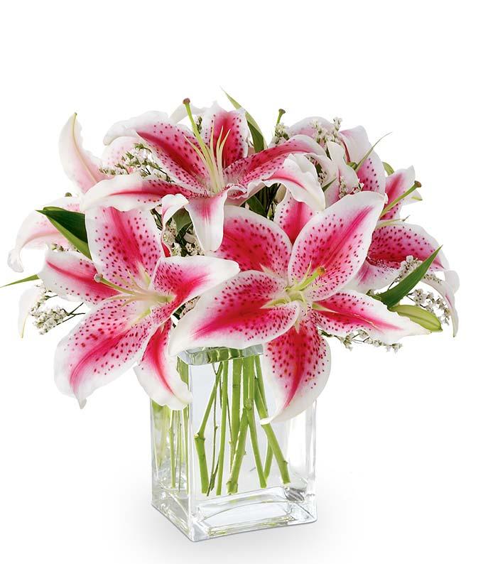 Pink stargazer lily bouquet