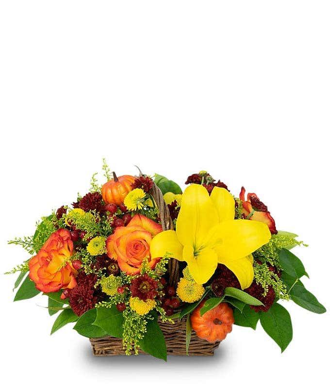 Woven basket flower centerpiece