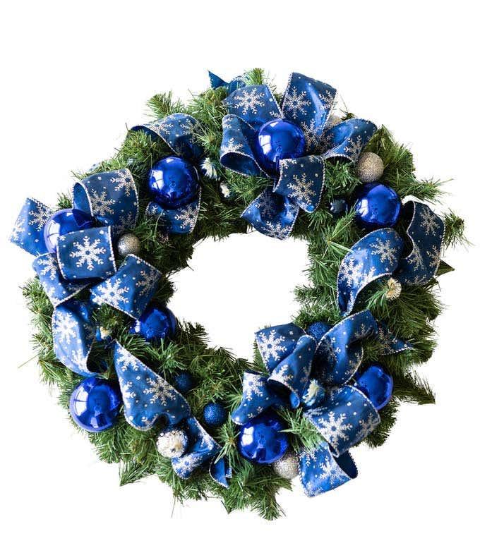 Beautiful Blue Snowflake Wreath