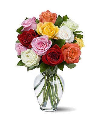 Mixed roses arrangement for with yellow, pink and white roses